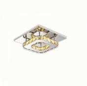 Mini Modern Crystal Chandelier Square Ceiling Light for Bedroom, Bathroom, Dining Room,21cm x 21cm ,12W