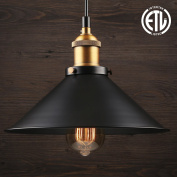 1 Light Industrial Hanging Pendant Light, Retro Vintage Style, Matte Black Metal Shade, Exquisite Workmanship, for Dining Room, Bars, Warehouse, E26 Base, ETL Certified, 3 YEARS WARRANTY