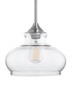 Linea di Liara Ariella Ovale Clear Glass One-Light Stem Hung Pendant Lamp, Brushed Nickel LL-P322