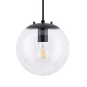 Sferra Pendant Light with LED Edison Bulb Included. Black with Globe Glass Shade and Adjustable Fabric Wrapped Cord. Modern Industrial Factory Style. UL Listed, Linea di Liara LL-P201-BLK