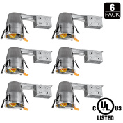 TORCHSTAR 10cm UL-listed Remodel Can, Air Tight IC Housing, TP24 Connector Included for LED Recessed Retrofit Kit, 120V Line Voltage, Pack of 6