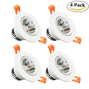 LightingWill LED Downlight 4-Pack 5W CRI_80 387LM Directional Recessed COB Fixture Cut-out 2.5in(65mm) Dimmalbe 60 Beam Angle 3000K-3500K Warm White Ceiling Bulb 50W Halogen Bulb Equivalent DXB-WW5WD4