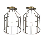 Set of 2 Industrial Vintage Style Top Light Cage for Pendant Light Lamps