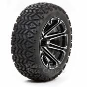 HD3 30cm Black/Silver Machined Golf Cart Wheels with 60cm All Terrain Tyres - Set