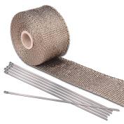 Yescom 5.1cm 5m Titanium Exhaust Shield Tape Header Heat Wrap Pipe Insulation Stainless Steel Ties