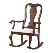 ACME Sheim Rocking Chair, Beige Fabric & Cherry