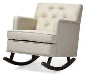 Baxton Studio Bethany Modern and Contemporary Light Beige Fabric Upholstered Button-Tufted Rocking Chair