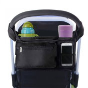 Stroller Organiser,Bangde Universal Black Baby Stroller Bag Fits All Strollers Premium Deep Insulated Stroller Cup Holders Extra-Large Storage Space for iphones Nappies Cups Toys