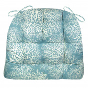 Dining Chair Pad with Ties - Ariel Fan Coral Ocean Blue - Extra Large - Reversible, Tufted, Latex Foam Fill