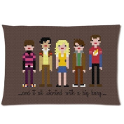 Custom Rectangle Cotton & Polyester Pillow Cases with Cartoon The Big Bang Theory Standard Size (20*30)