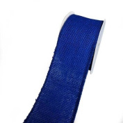 WIRED BLUE BURLAP RIBBON 2.5INX4.6m