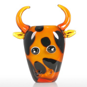 Tooarts Cow Glass Ornament Animal Paperweights Figurine Gift Collection Pencil Cointainer Handblown Home Decor