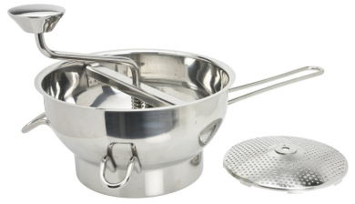 Food Mill, Masher and Strainer - Professional Grade Stainless Steel Kitchen Tool for Sauces, Fruit/Veg, Baby Food and purees (also called passatutto or puree sieve). By Taylors Eye Witness