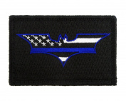 Batman Thin Blue Line Flag Police Hook and loop Fully Embroidered Morale Tags Patch