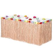 Hawaiian Luau Grass Table Skirt | Includes Adhesive | Perfect, Beach, Tiki, Tropical Island, Party, Luau Decoration 2.7m (Bonus 12 Hibscus Flower) by Luau Essentials