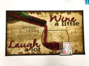 The Pecan Man WINE A LITTLE LAUGH A LOT , PRINTED KITCHEN RUG (non skid back) ,1Pcs 46cm x 80cm