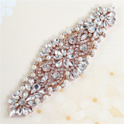 Beaded Applique with Rhinestones and Pearls for Wedding Sash or Head Rose Gold-1 Piece