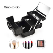 Portable Makeup Train Case 23cm with Mirror & Trays Jewellery Box Organiser Travel Cosmetic Storage - Chic Gift by Joligrace - Black