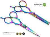 Suvorna Professional Barber Razor Edge Titanium Coated Hair Cutting and Texturizing Scissors Set Razpro P50, Multicolor, 460ml
