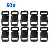 Gleader 50 pcs Plastic Contoured Side Release Buckles for Paracord Bracelets