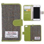 iPhone 6/6s/7 Flip Case MONOJOY Wallet Case Purse Card Cover Harris Tweed Wool Surface Fabric and Synthetic Suede Leather Folio Book Cover with Card Business Office Commercial Slot Magnetic Clasp Handmade Retro (iPhone 6/6S