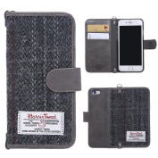 iPhone 6/6s/7 Flip Case MONOJOY Purse Card Cover Harris Tweed Wool Surface Fabric and Synthetic Suede Leather Folio Book Cover with Card Business Office Commercial Slot Magnetic Clasp Handmade Retro (iPhone 6/6S