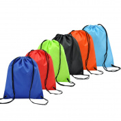 Coolzon® 6 Pack Drawstring Backpack Bag Nylon Folding Shoulder Tote Sack Bags for Picnic Gym Sport Beach Holiday School Home Travel Storage Use 6 Different Colours