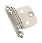 Amerock Hinge 1.7cm H X 5.1cm - 0.3cm W X 5.1cm - 1.9cm L Face Mount Self-Closing Satin Nickel Finish Card 2