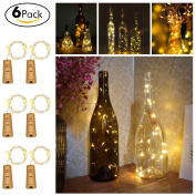Wine Bottles String Lights, GardenDecor 6 Packs Micro Artificial Cork Copper Wire Starry Fairy Lights, Battery Operated Lights for Bedroom, Parties, Wedding, Decoration
