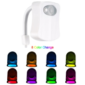 Motion Sensor Toilet Night Light-Motion Activated LED Toilet light -Body Sensor Nightlight with Two Modes and 8 Colour Changing- Toilet Glow Bowl Light Fits Any Toilet