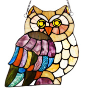 River of Goods Tiffany Style Stained Glass High Multi Colour Hoot Owl Glass Panel, 28cm , Multicolor