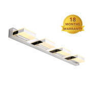 mirrea 16W Modern LED Vanity Light in 4 Lights, Stainless Steel and Acrylic, Warm White