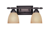 Designers Fountain 94002-ORB Apollo Collection 2-Light Bath Bar, Oil Rubbed Bronze Finish with Amber Sandstone Glass Shade