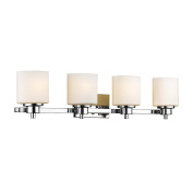 """Chloe Lighting CH821036CM33-BL4 Contemporary 4 Light Chrome Finish Bath Vanity Wall Fixture Alabaster Glass, 33"""" Wide, White"""