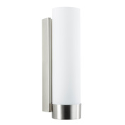 Linea di Liara Elina Wall Sconce One Light Bath Vanity Lamp Brushed Nickel with Frosted Glass Shade LL-WL301-BN