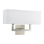 Linea di Liara Sofia Wall Sconce Two Light Lamp Brushed Nickel with White Fabric Shade LL-WL350-2-BN