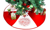 Red & White Tree Skirt With Greetings - 90cm Christmas Tree Skirt