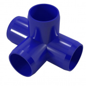 PVC Pipeworks 1.9cm 4-Way PVC Furniture Grade Fitting in Blue - Side Outlet Tee