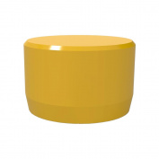 PVC Pipeworks 2.5cm Flat End PVC Furniture Grade Cap in Yellow - External Fit