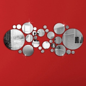 Removable 3D Mirror Wall Stickers Silver Acrylic DIY Home Room Mural Decal Decor
