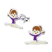 Sterling Silver Gymnastics Girl with Purple Leotard Earrings