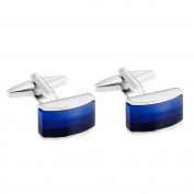 Men's Cufflinks with Stainless Steel Metal and Blue Opal Agate
