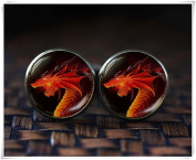 Red dragon cufflinks, dark dragon cufflinks, dragon jewellery