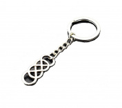 Antique Silver Double Infinity Pendant Keychain Women Men Unique Jewellery Gifts