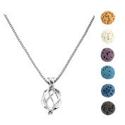 JOVIVI Aromatherapy Essential Oil Diffuser Necklace Silver Tone Locket Pendant with 6 Dyed Multi-colours Lava Stone Beads