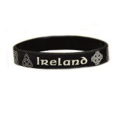 Silicone Wristband With Celtic Designs And Ireland Text, Black Colour