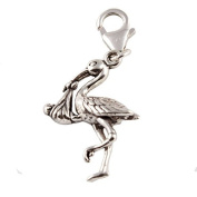 Sterling Silver Stork With Baby Clip On Charm - With 11mm Clasp
