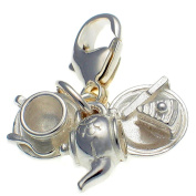 Welded Bliss Sterling 925 Silver 3 Part Tea Set, Clip On Charm WBC1466