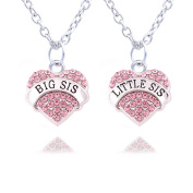 2pcs Women Family Jewellery Set Silver Alloy Pink Crystal Love Heart Big Little Sister Pendant Necklace