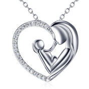 Mother and Daughter Son 925 Sterling Silver Necklace Pendant For Women Mum and Child 46cm Chain, Christmas Day Gifts Jewellery